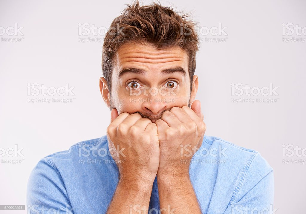 This is nail biting stock photo