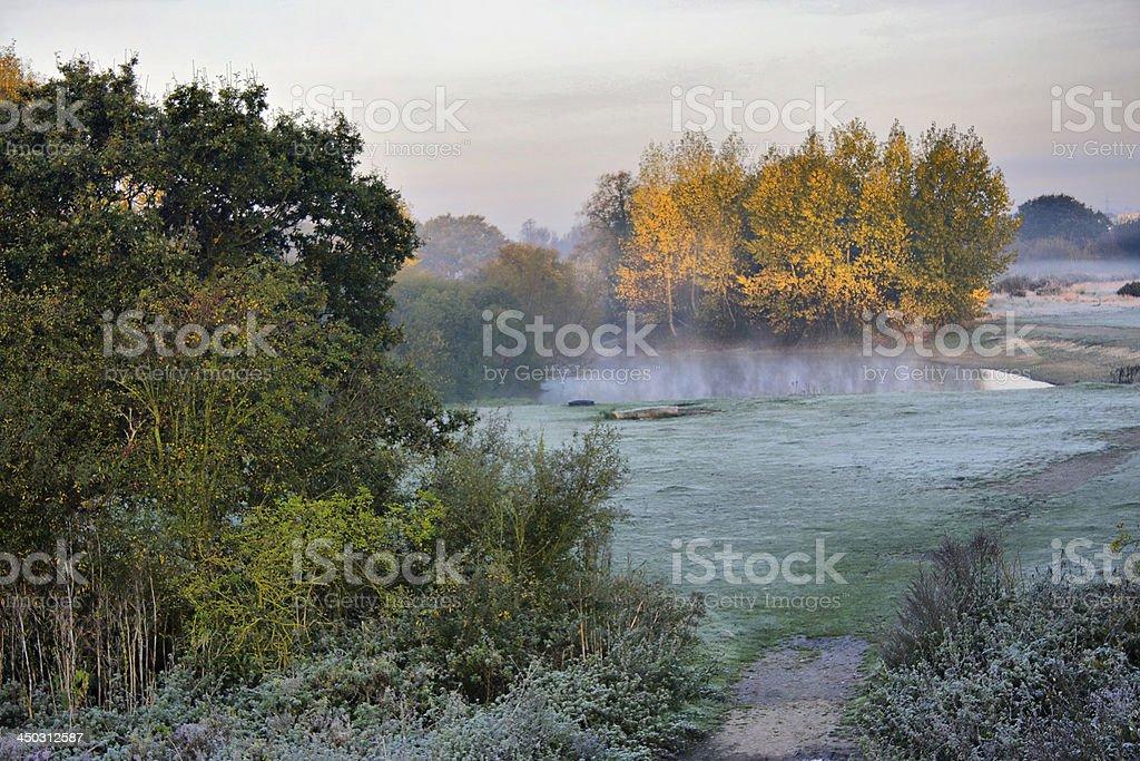 Frosty autumnal landscape in Richmond Park stock photo