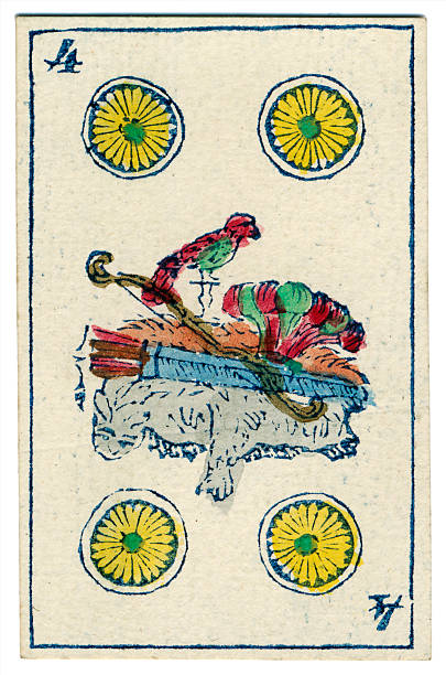 playing card 4 oros coins 1846 mexican spanish - whiteway money stock photos and pictures