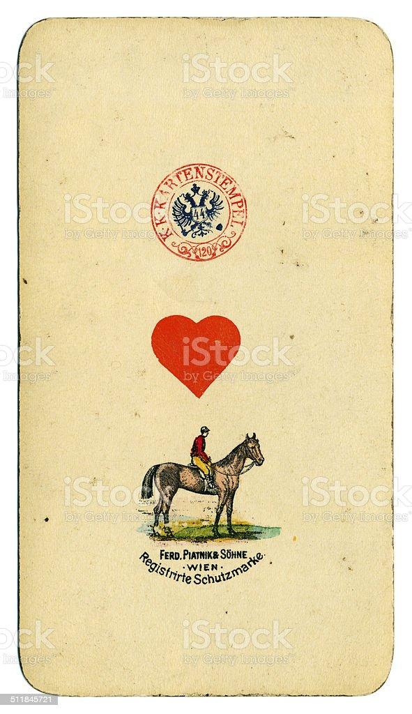 Ace of Hearts playing card Tarot Austrian Tarock 1900 stock photo