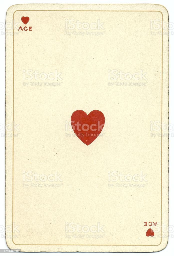 Ace of Hearts Dondorf Shakespeare antique playing card stock photo