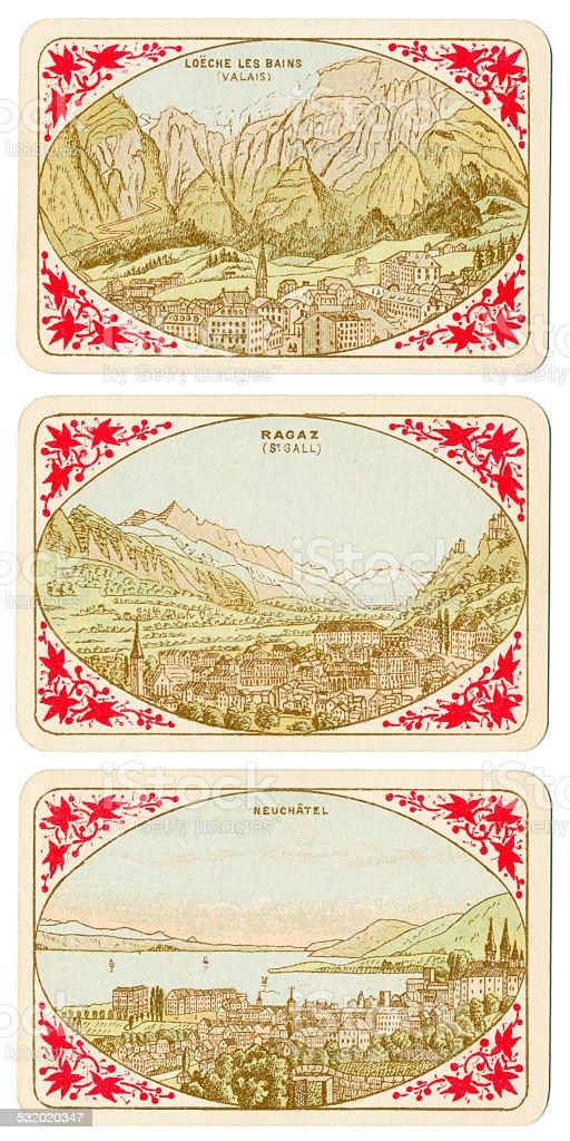 Spielkarten der Schweiz 1880 Loeche Les-Bains Ragaz Neuchatel – Foto
