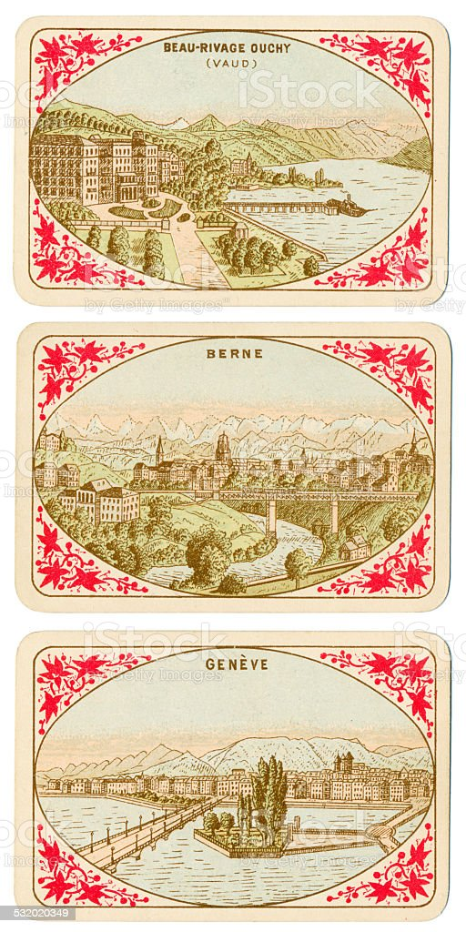 Playing cards Switzerland 1880 Beau-Rivage Duchy Berne Geneve stock photo
