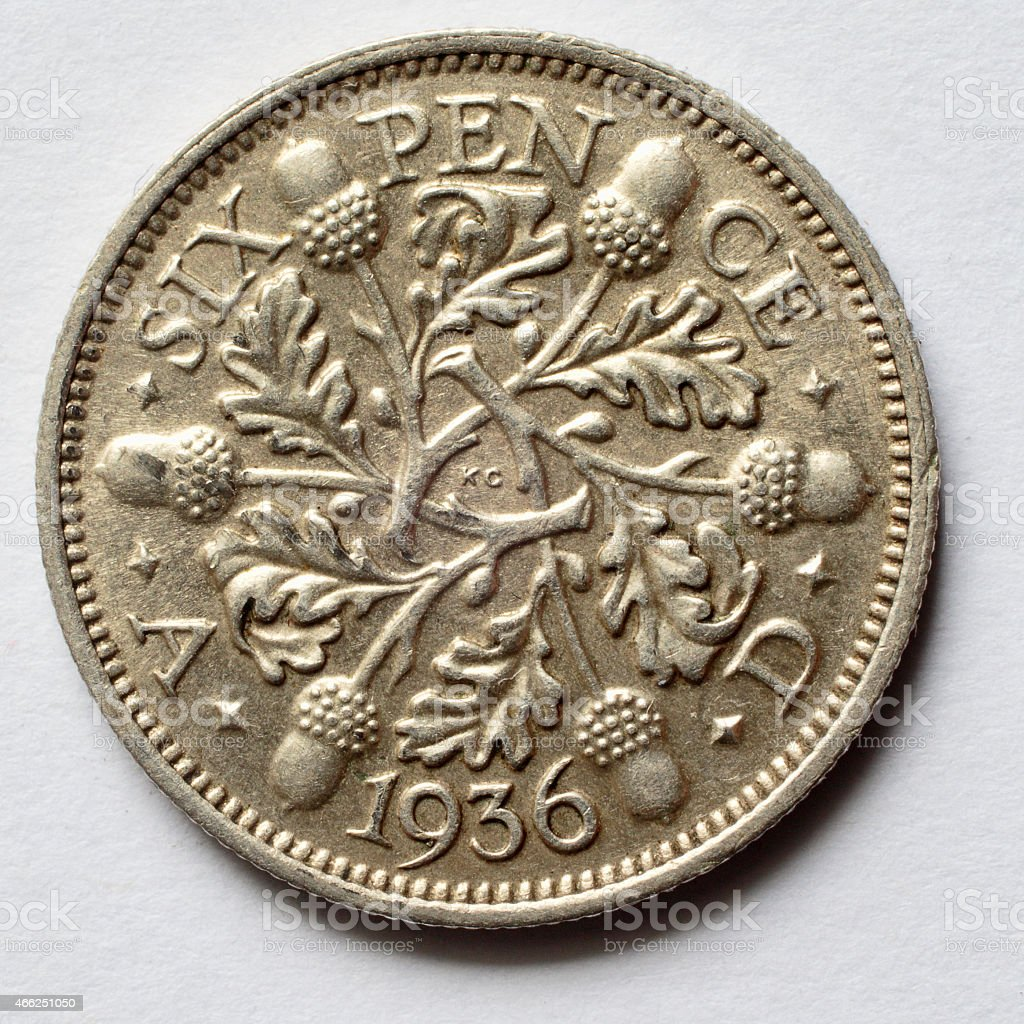 King George V 1936 silver sixpence reverse stock photo