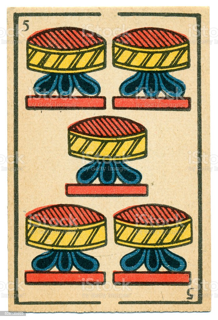 Moroccan playing card baraja 1890 Five of Cups Hearts stock photo