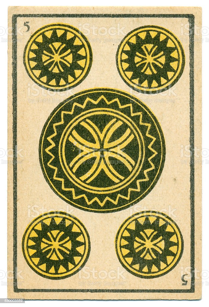 Moroccan playing card baraja 1890 Five of Diamonds Oros coins stock photo