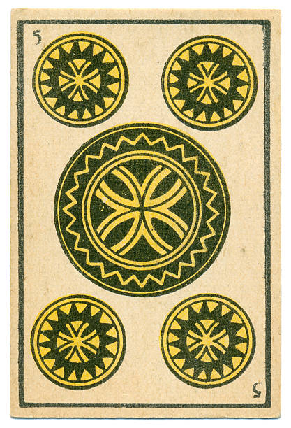 moroccan playing card baraja 1890 five of diamonds oros coins - whiteway money stock photos and pictures
