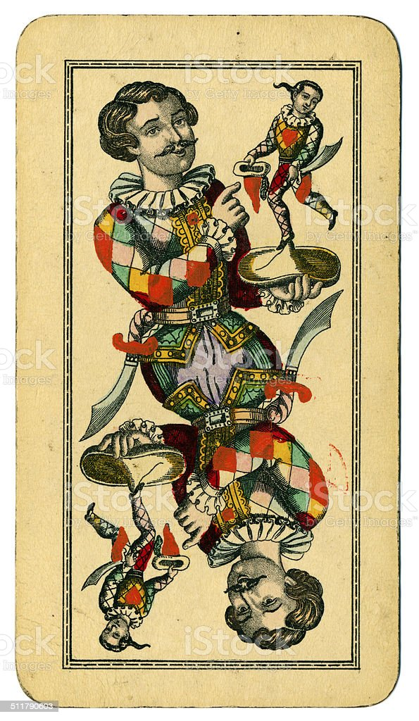 Tarot Fool or Joker Austrian Taroch playing card 1900 stock photo