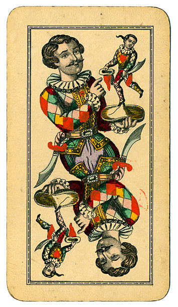 Tarot Fool or Joker Austrian Taroch playing card 1900 This is the Fool (Joker), an un-numbered picture card from a pack of large Tarot cards (called Taroch or Tarok in German). Cards in this pack measure 74 x 129mm. The maker is  Fred. Piatnik & Sohne of Vienna. The Fool is a Harlequin holding a hat, and on the hat is a representation of himself. This design is in some ways similar to the Trump card number I (one), where Harlequin is shown holding a harp, and on the harp is a smaller version of himself. The history of Tarot goes back to 15th century Italy. There were 78 cards, including 21 'trump' cards and a 'fool' or 'skeench' dressed as a harlequin, which in modern packs would be called a joker. The large numbers of cards and the complicated rules led to a decline in the popularity of these Tarot card games. Austrian Taroch cards use French symbols (clubs, diamonds, hearts and spades), and a simplified pack numbering 54, which still includes the 21 trumps plus the fool. These make up the 22 'Taroch' (trump) cards. This particular pack was made by Piatnik (Vienna) in 1900. whiteway stock pictures, royalty-free photos & images