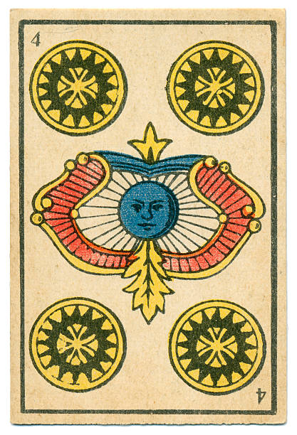moroccan playing card baraja 1890 four of diamonds oros coins - whiteway money stock photos and pictures