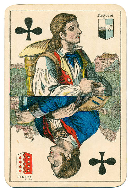Jack of Clubs Vues and Costumes Suisse 1880 stock photo