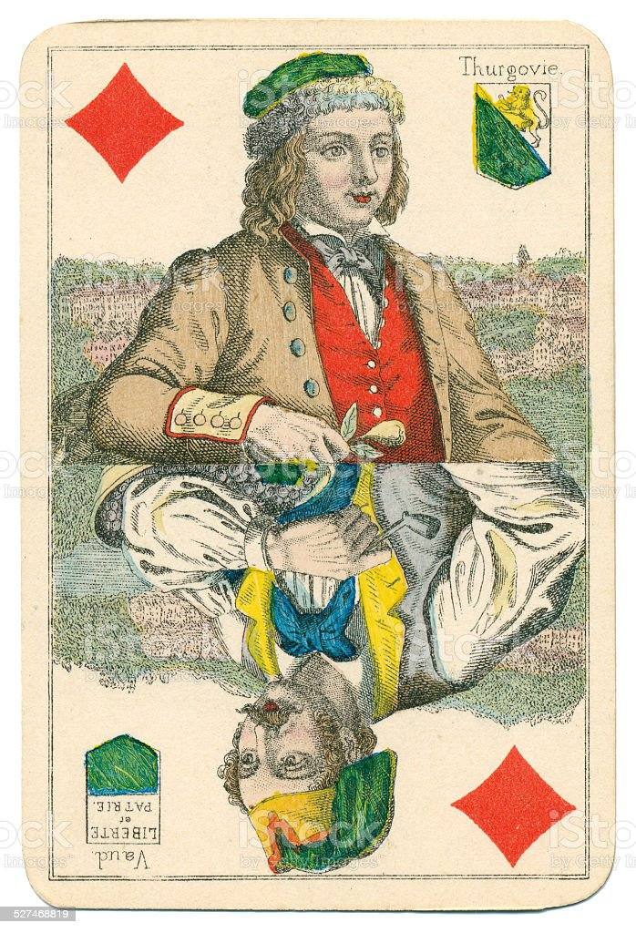 Jack of Diamonds Vues and Costumes Suisse 1880 stock photo