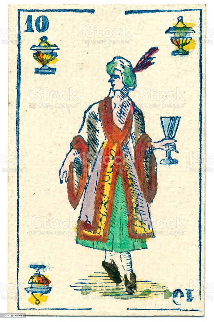 Mexico playing card baraja 1846 Jack of Hearts cups copas stock photo