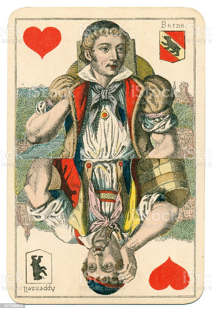 Jack of Hearts Vues and Costumes Suisse 1880 stock photo
