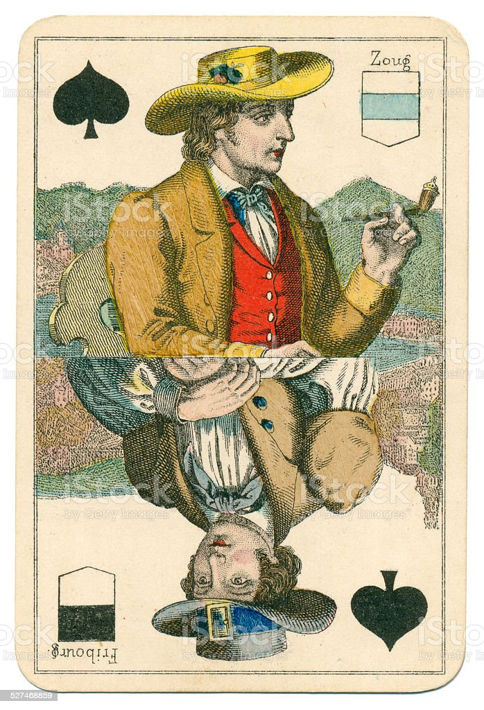Jack of Spades Vues and Costumes Suisse 1880 stock photo