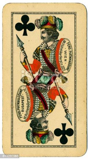 Knave de clubes carta Tarot Tarock austríaco 1900