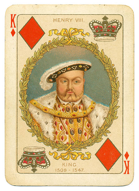 King Henry VIII King of Diamonds This is the King of Diamonds from a pack of cards produced by Charles Goodall in 1897 to celebrate Victoria's Diamond Jubilee, 60 years as Queen of Britain and its overseas dominions. The court cards (picture cards) display former monarchs of Britain, along with their names and dates, and this pack was issued without a joker. This King is shown as the King Henry VIIII of England (1509 - 1547). There is a link below to the portrait of Queen Victoria that appears on the reverse of each card; and to the other diamonds court cards: . whiteway stock pictures, royalty-free photos & images