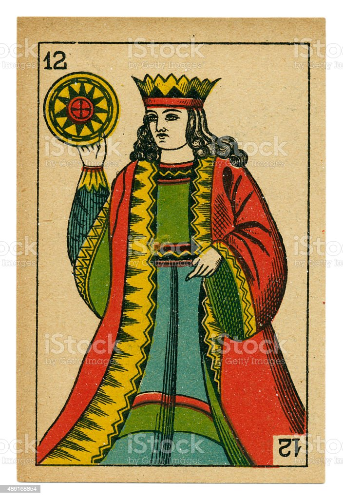 King oros playing card baraja 19th century 1878 stock photo