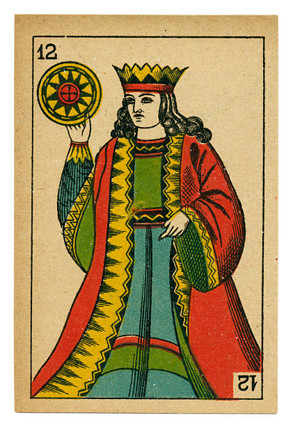 king oros playing card baraja 19th century 1878 - whiteway money stock photos and pictures