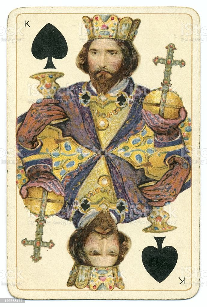 King of Spades Dondorf Shakespeare antique playing card stock photo