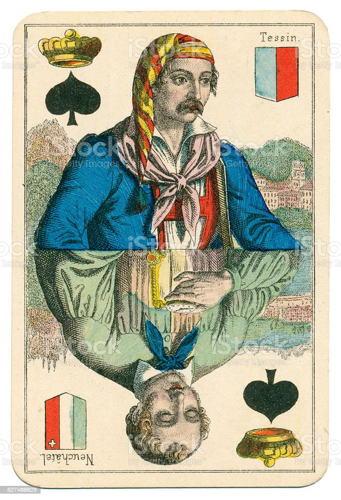 King of Spades Vues and Costumes Suisse 1880 stock photo