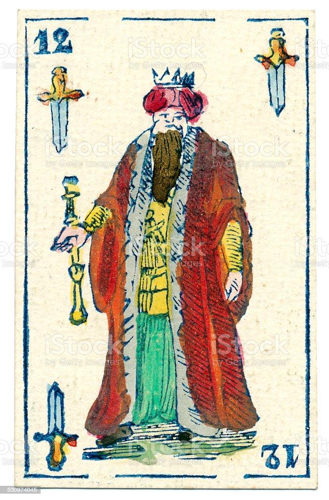 Mexican playing card baraja 1846 King of Spades espadas swords stock photo
