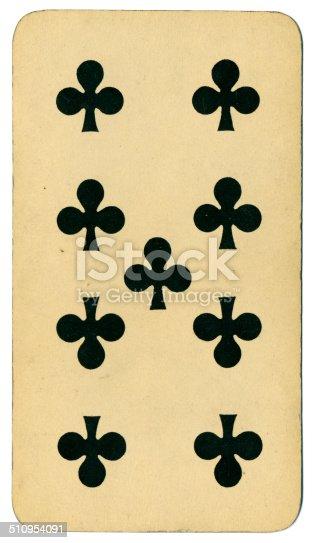 Nueve de tréboles carta Tarot Tarock austríaco 1900