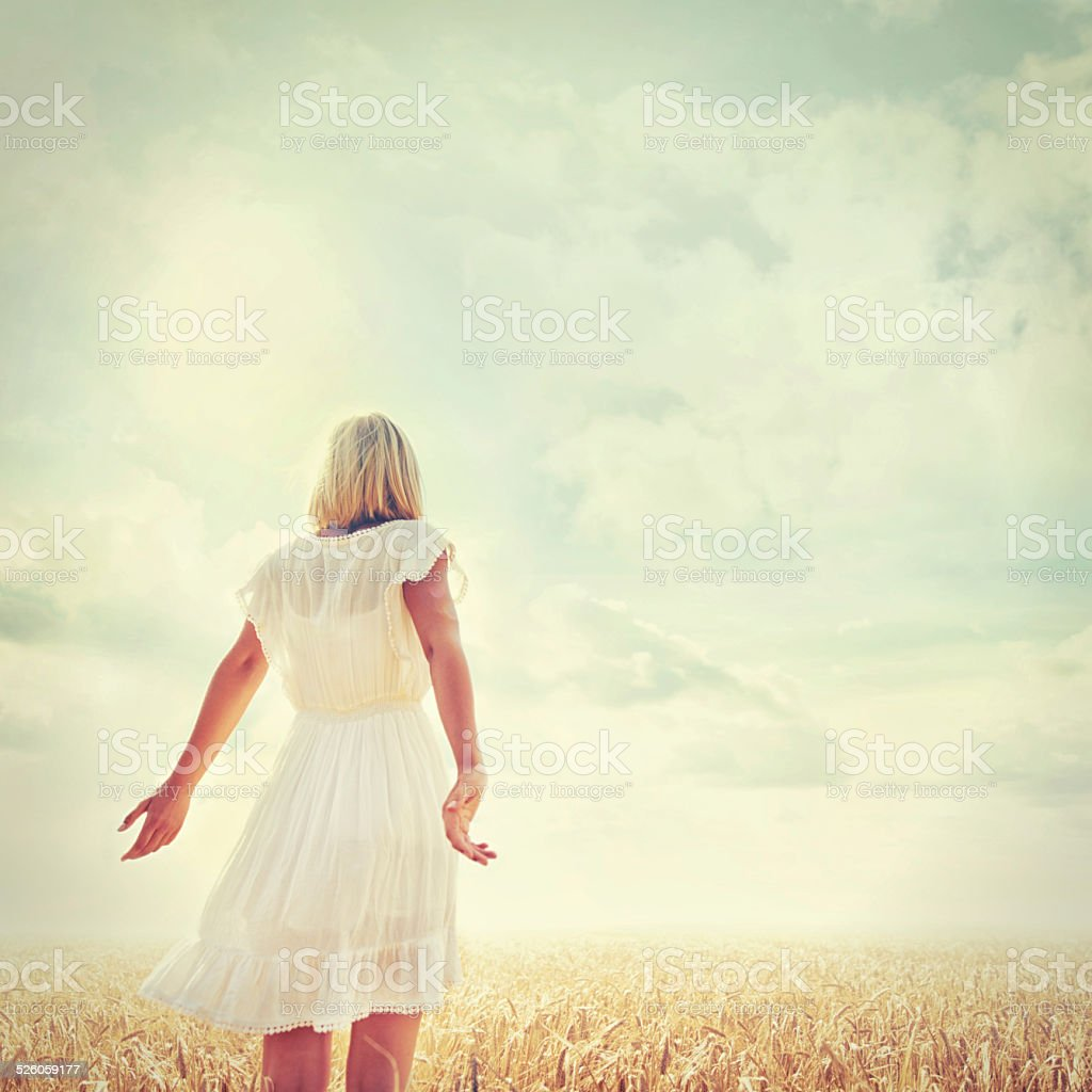 This is the only place where she feels free stock photo