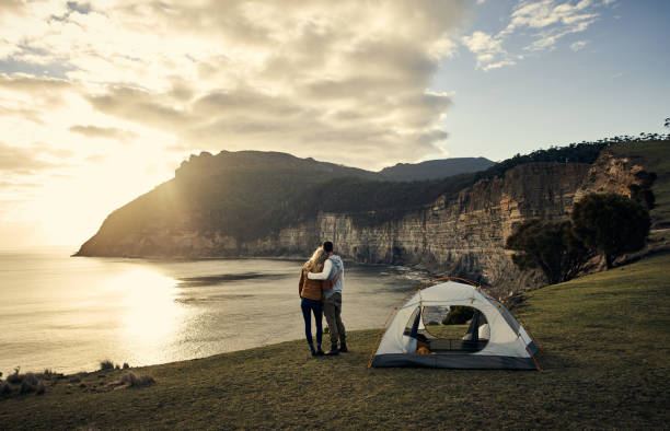 This is the perfect campsite stock photo