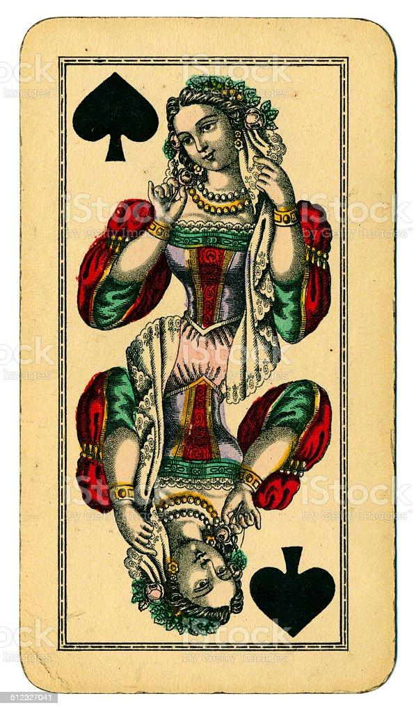 Queen of Spades Tarot Austrian Taroch 1900 stock photo