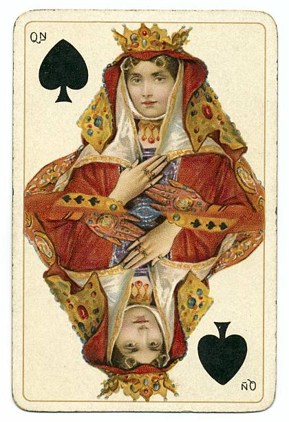 queen of spades dondorf shakespeare antique playing card - whiteway danish stock photos and pictures