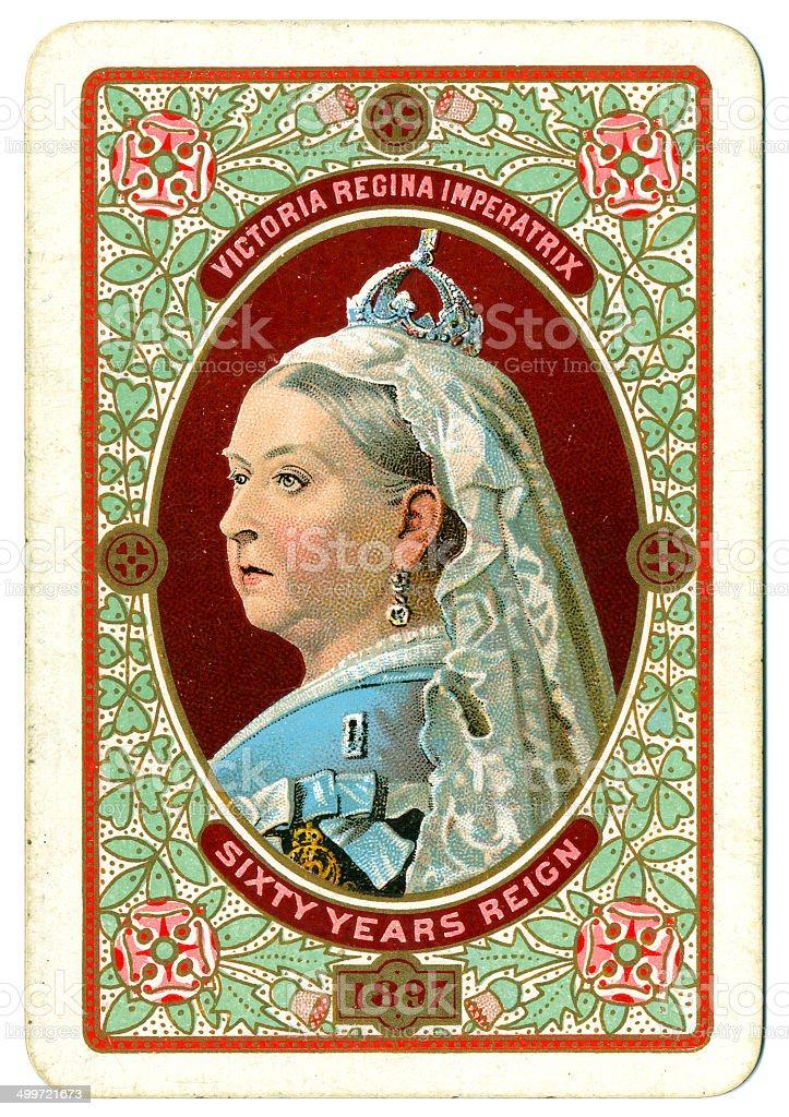 Cartão para reverter Victoria Jubileu de Diamante retrato 1897 - foto de acervo