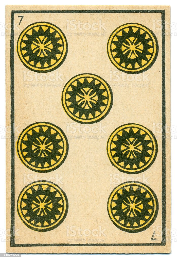 Moroccan playing card baraja 1890 Seven of Diamonds Oros coins stock photo