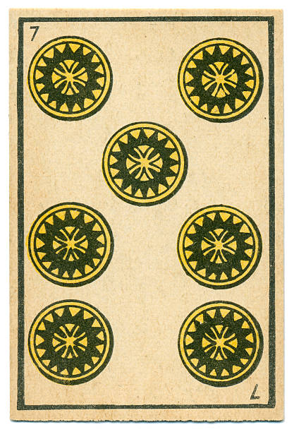 moroccan playing card baraja 1890 seven of diamonds oros coins - whiteway money stock photos and pictures