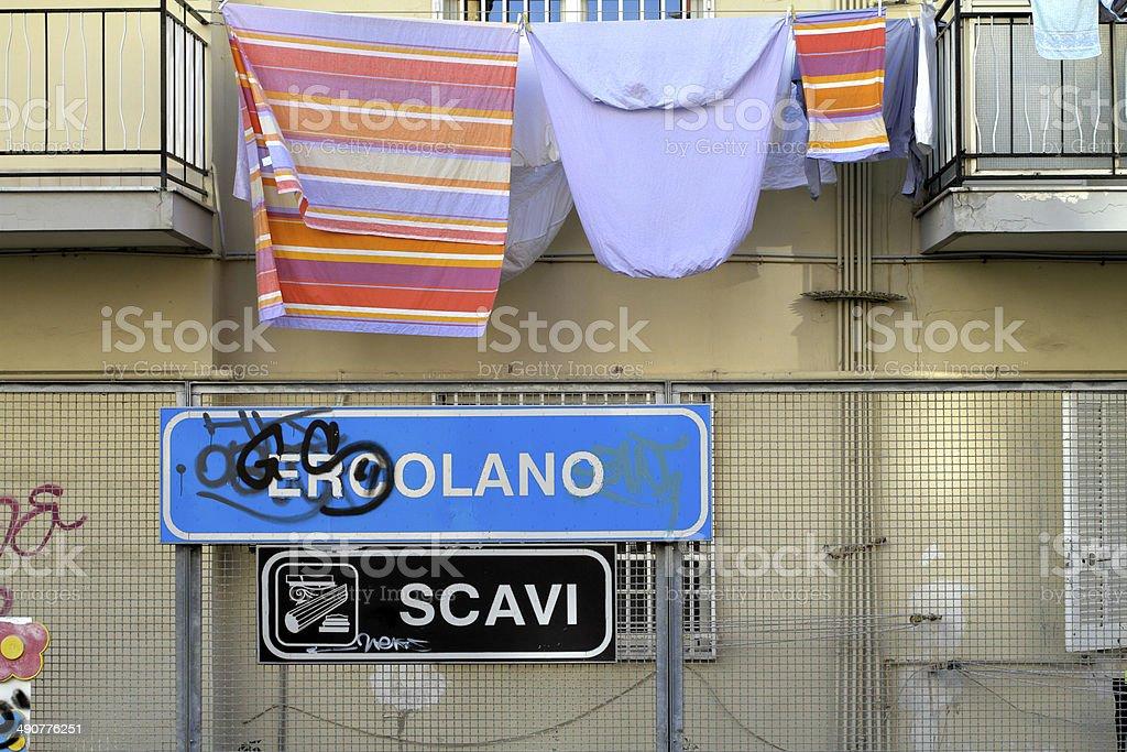 Railway station at Ercolano Scavi Italy stock photo