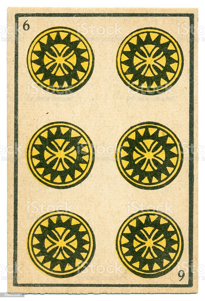 Moroccan playing card baraja 1890 Six of Diamonds Oros coins stock photo