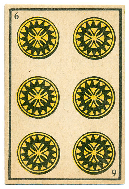 moroccan playing card baraja 1890 six of diamonds oros coins - whiteway money stock photos and pictures