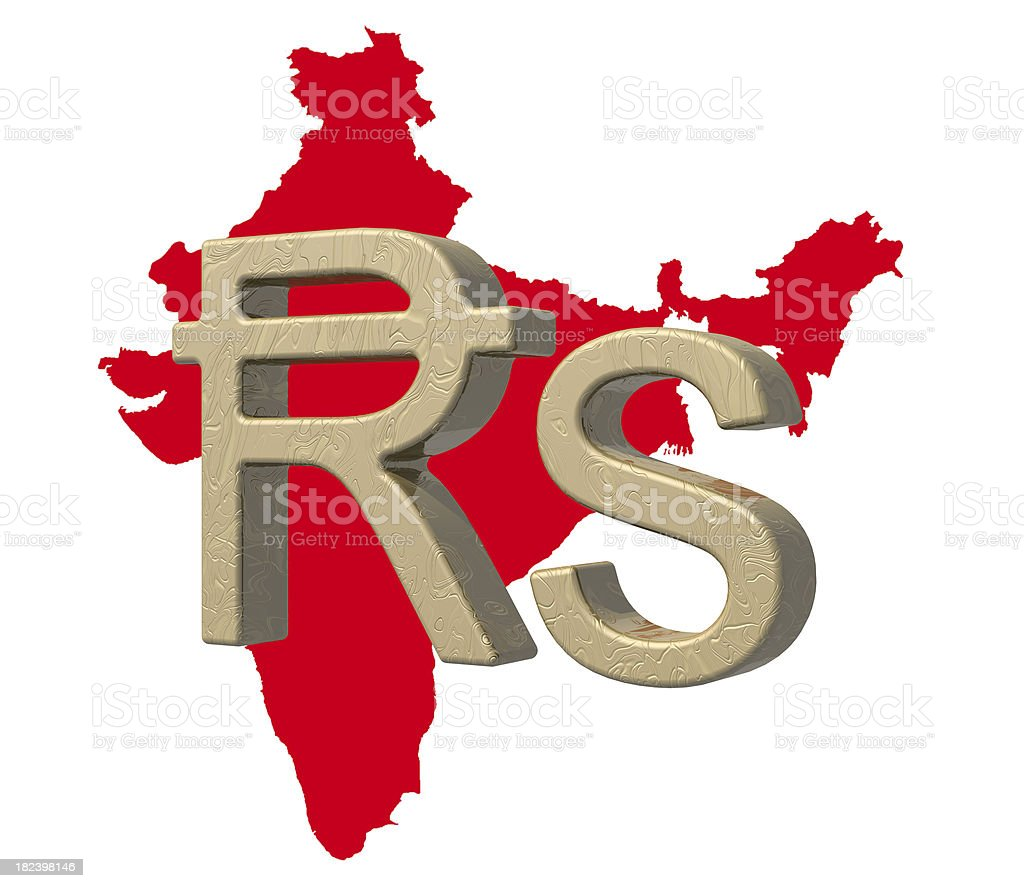 Indian rupee currency symbol over red map of India stock photo