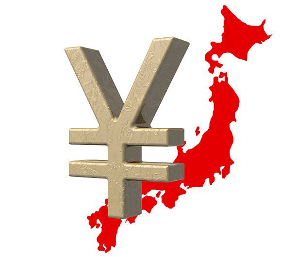 japanese yen currency symbol over red map of japan - whiteway money stock photos and pictures
