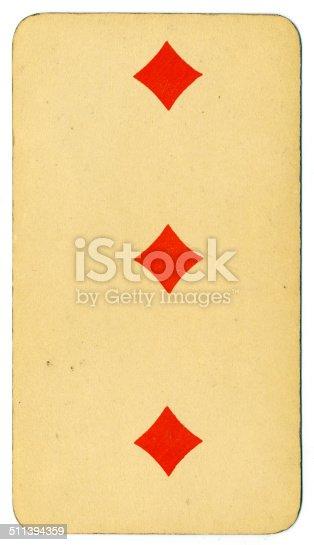 Tres de diamantes carta Tarot Tarock austríaco 1900