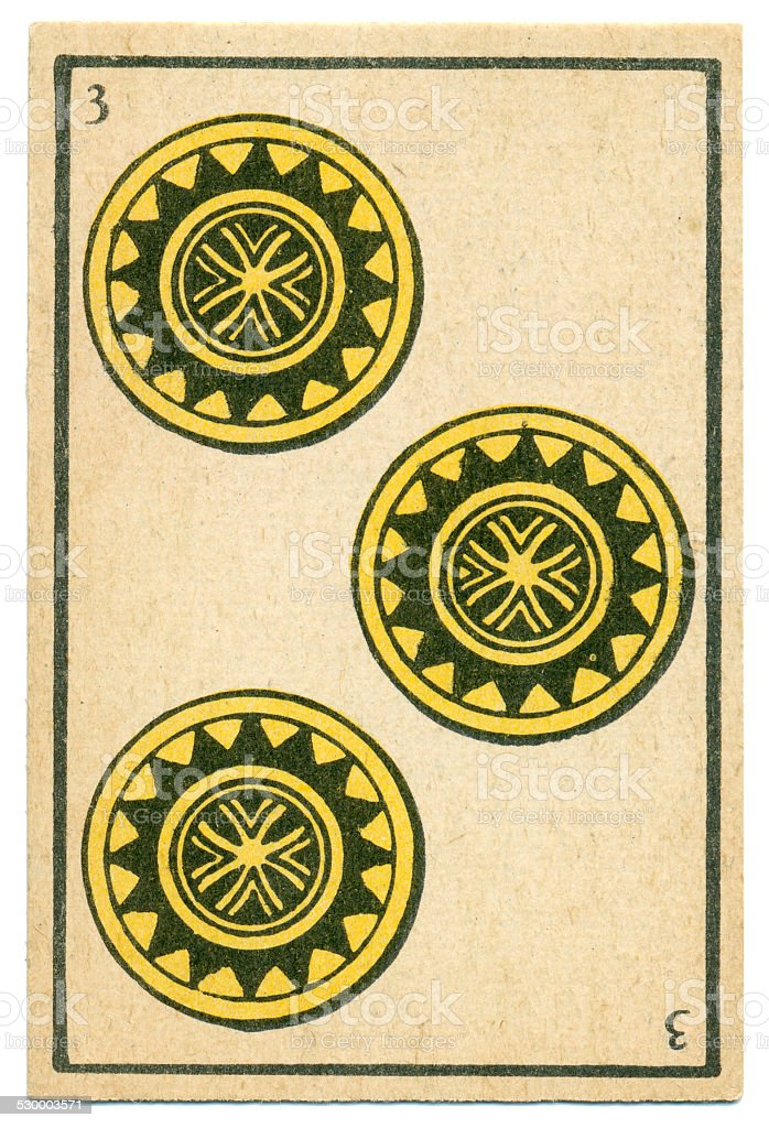 Moroccan playing card baraja 1890 Three of Diamonds Oros coins stock photo