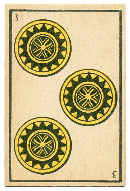 moroccan playing card baraja 1890 three of diamonds oros coins - whiteway money stock photos and pictures