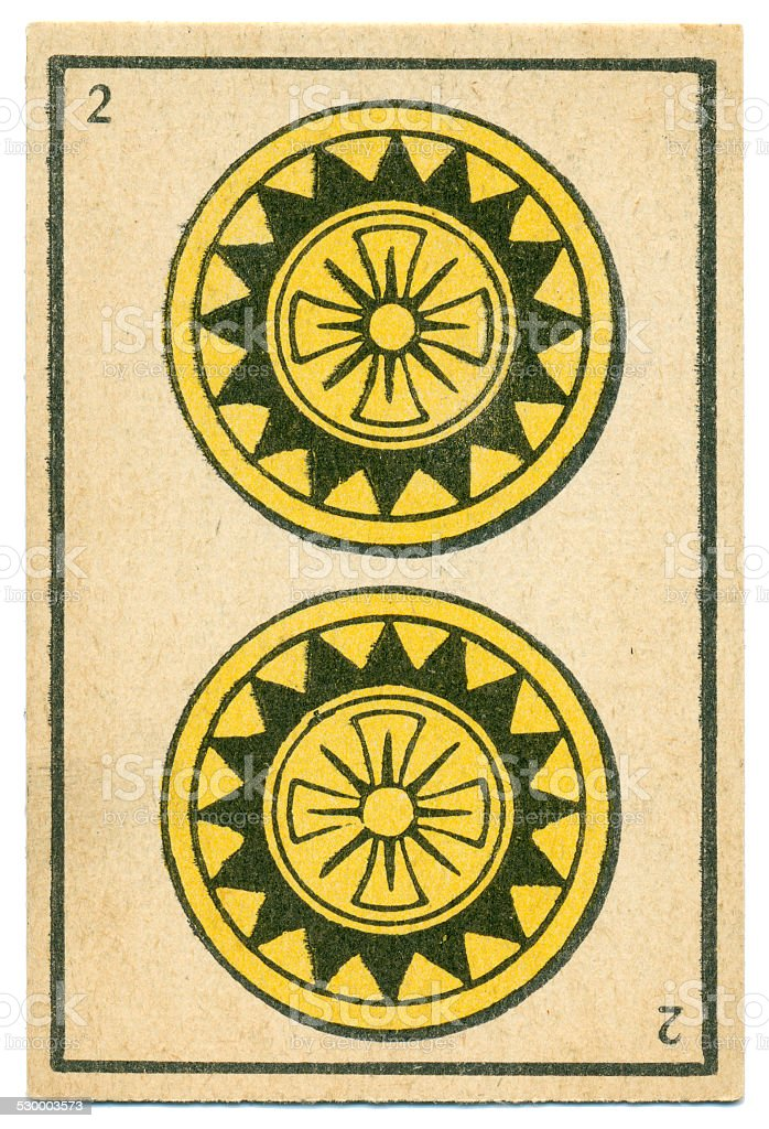 Moroccan playing card baraja 1890 Two of Diamonds Oros coins stock photo