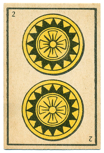 moroccan playing card baraja 1890 two of diamonds oros coins - whiteway money stock photos and pictures