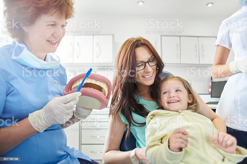 this is the way we brush our teeth stock photo