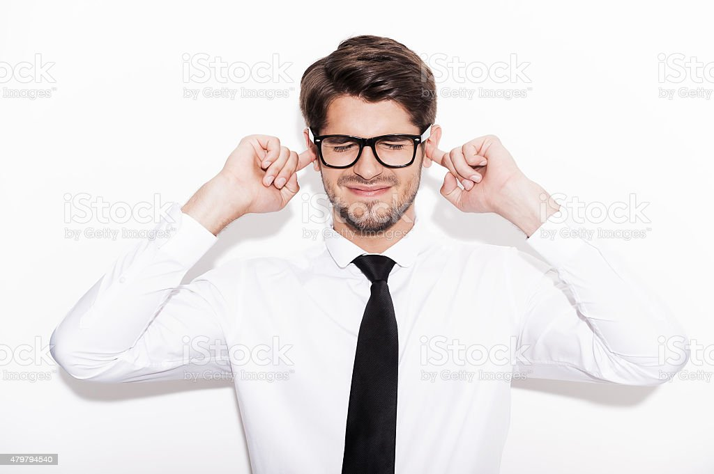This is too loud! stock photo