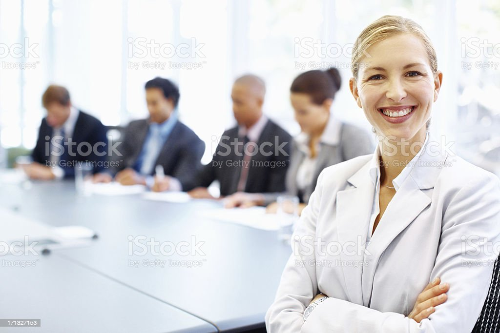 This is where she excels! - Business stock photo