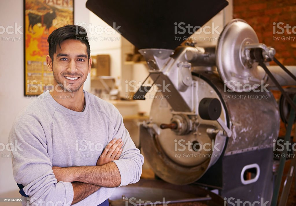 This is where that cup of coffee starts stock photo
