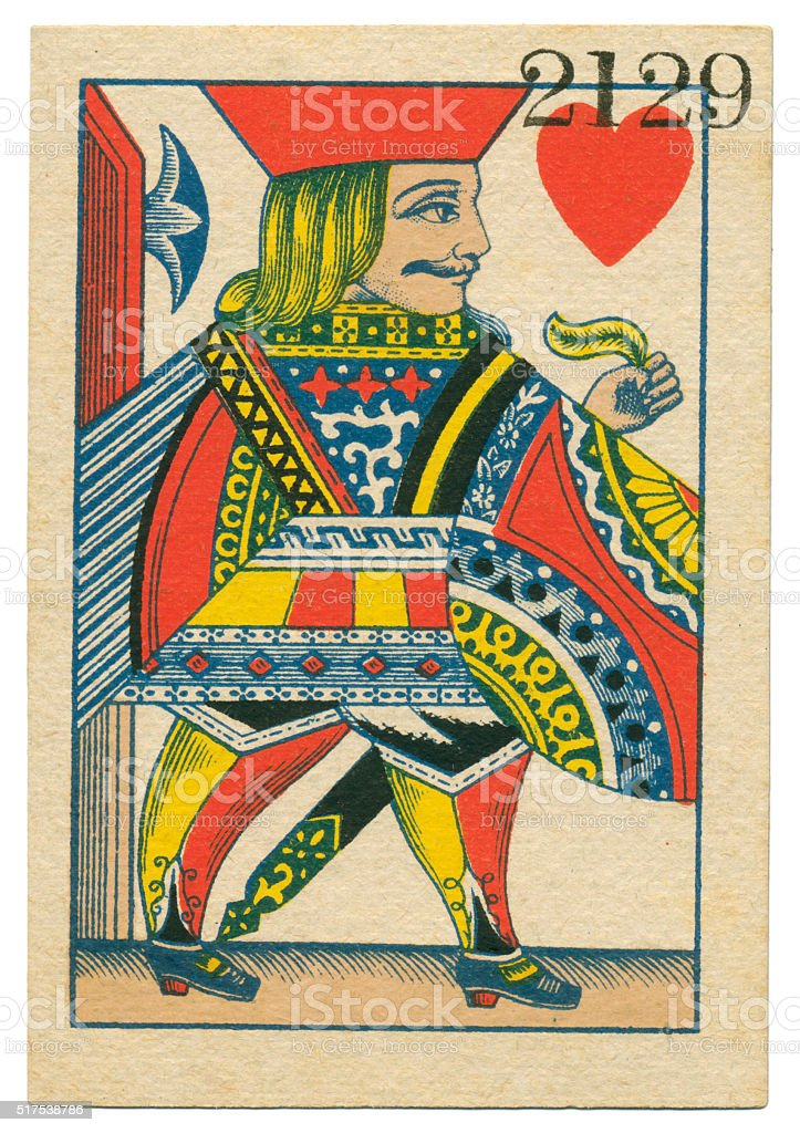 Jack of Hearts playing card standing court Belgium 1860 stock photo