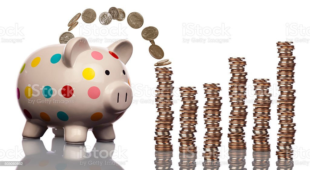 This little piggy bank saved stacks and-stacks of cash stock photo